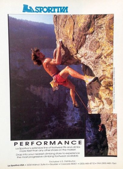 La Sportiva ad (1991) with Ron Kauk on <em>Fun Terminal</em> (5.12a), Yosemite Valley<br> <br> Photo by Mike Hoover