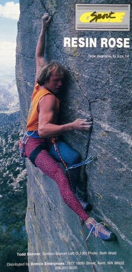 One Sport Resin Rose ad (1991) with Todd Skinner on <em>Golden Beaver Left</em> (5.13a), Mt. Lemmon <br> <br> Photo by Beth Wald