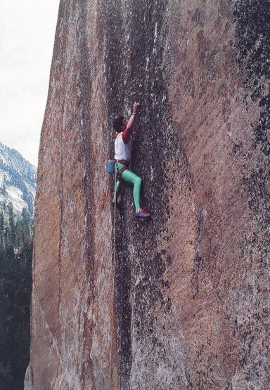 Jerry Moffat on the first ascent of <em>Clash of the Titans</em> (5.13a), Tuolumne Meadows<br> <br> Photo by John Bachar