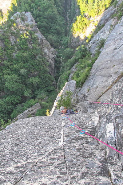 Becca following the splitter on pitch 4.