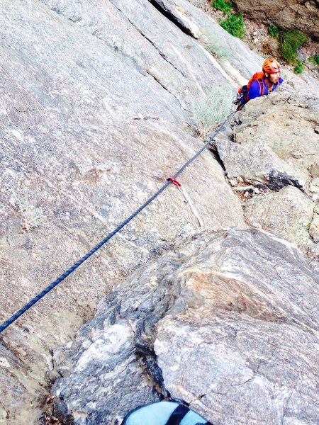 JNelson following pitch one- super-clean rock on the whole route!