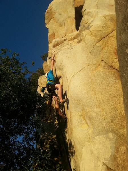 John B (13 yrs old)flashes Hairy Airy direct start, 5.11c with Joshua on belay.