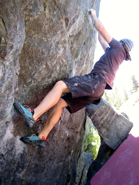 Small crimps at hand, just a couple more move to the top of Crimp Ladder, V7