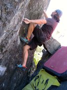 Rock Climbing Photo: Mid crux just about to reach up to the small crimp...