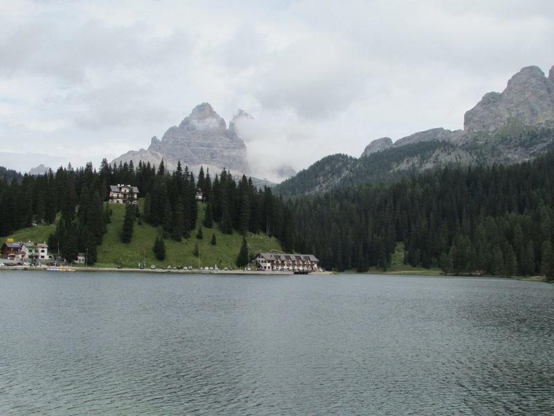 Lago di Misurina, looking towards Tre Cime di Laverado. Many clouds!