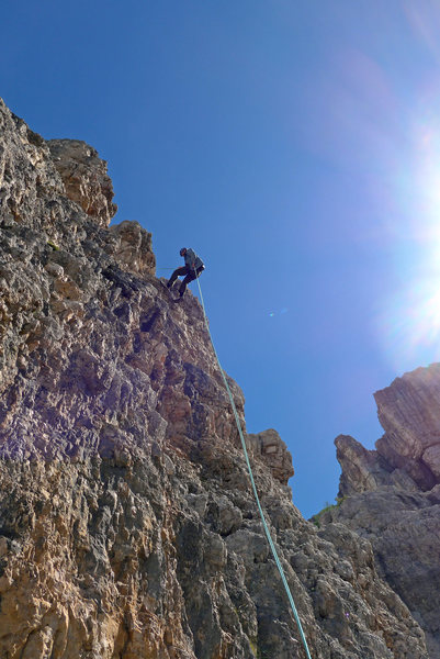 Rock Climbing Photo: Rodger on second abseil to the ground.