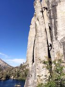 Rock Climbing Photo: Unkown Chimney, Eagle Lake Tahoe.  Final move to a...