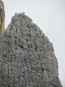 Rock Climbing Photo: Solitary climber atop Kleiner Falzaregoturm