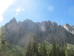 Rock Climbing Photo: Ra Mountain (the left most peak) as seen from the ...
