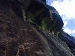 Rock Climbing Photo: Spencer following the traverse underneath the Pend...