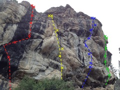 Rock Climbing Photo: Hurricane Wall from left to right: (red) Spanked b...