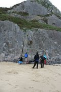 Gower Penisula beach climbing. Unmarked route.