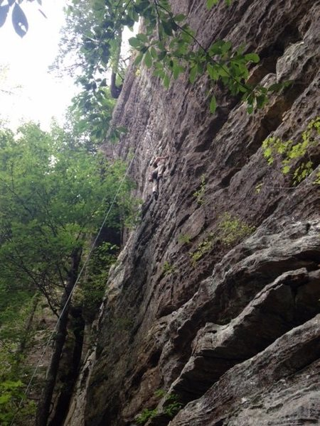 Great last route of the day, approaching the slight overhang near the bolts.