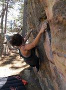 Rock Climbing Photo: Fun traverse problem at Pine Mtn