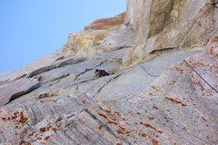 Rock Climbing Photo: RNclimber leading Pitch 3