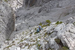 Rock Climbing Photo: Looking down the Normal Route; broken terrain that...