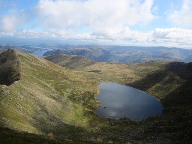 View down to Red Tarn and Lake Ullswater in the distance