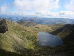Rock Climbing Photo: View down to Red Tarn and Lake Ullswater in the di...