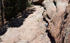Rock Climbing Photo: Climbing above the low-angle slab