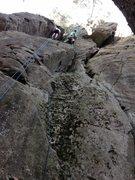 Rock Climbing Photo: Doug, on the FA.  Photo by Teresa