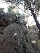 Rock Climbing Photo: Doug, in the juggy section above the finger crack....