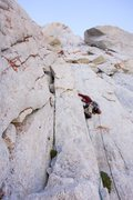 Rock Climbing Photo: Me leading off the 2nd pitch ledge passed the 2 bo...
