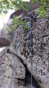 Rock Climbing Photo: Start of Dark Side Direct. Follow the crack up and...
