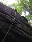 Rock Climbing Photo: The Buddha, Rines Hill. There is a bolted anchor o...