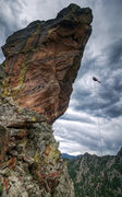 Rock Climbing Photo: The major free-hanging rappel on this beast can be...