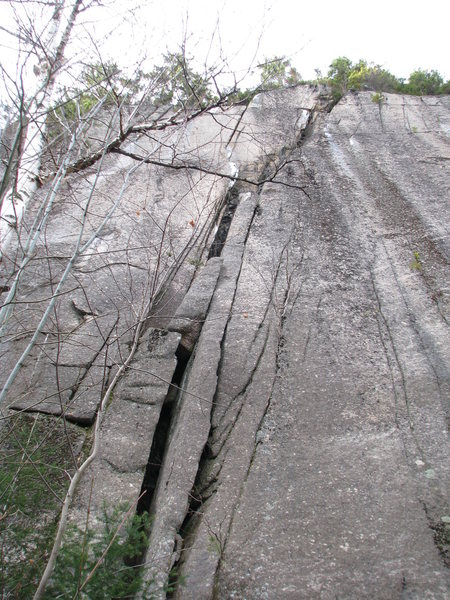 Early exploratory picture of 'Squeeze Box' and 'Happy Camper' (left hand second pitch hand crack) before they were climbed