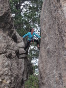 Rock Climbing Photo: Tracie pondering the move over...