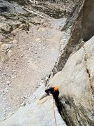Rock Climbing Photo: Dmitriy Litvak following the crux P4 5.10 OW