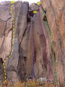 Rock Climbing Photo: Hinterlands center area.  Yellow - Tuning Fork Blu...