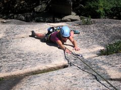 Rock Climbing Photo: Bit of a stretch for the height challenged...Jen l...