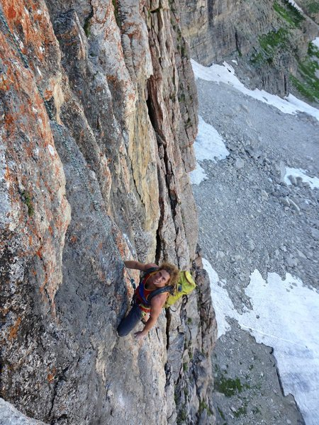 "Mike Mock climbing out of the Dad Crag on ""Poo-Finger"""