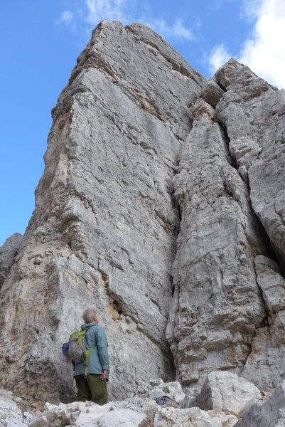 Rodger at the base of Torre Inglesi, sizing up the Normal Route; YDS:5.6.