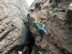Rock Climbing Photo: Jun Kim, at the 1st crux.