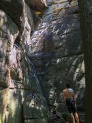 Rock Climbing Photo: Matt slithering up Four Sheets at the Crux