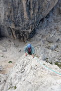 Rock Climbing Photo: Exposed climbing, one foot on either side of the k...