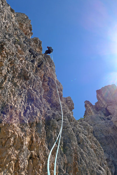Abseils from Torre Latina are steep and spectacular!