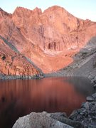 Rock Climbing Photo: Chasm Lake with Alpen Glow on the Diamond