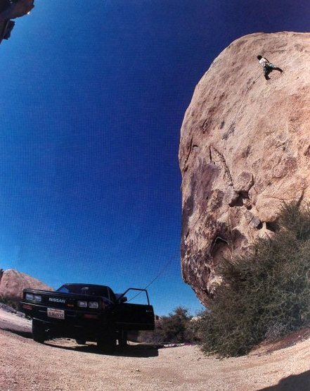 First ascent of <em>The Strange Attractor</em> (5.12a), Joshua Tree NP<br> <br> Photo by Charles Cole