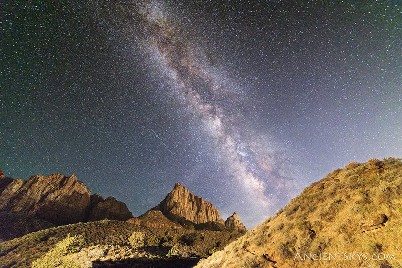 The Watchman at night. Illuminated from the crescent moon and light pollution of Springdale. <br> http://www.ancientskys.com
