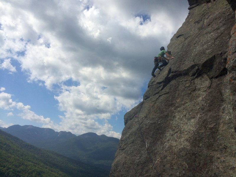 Rock Climbing Photo: Simon on the thrilling last pitch of Overture