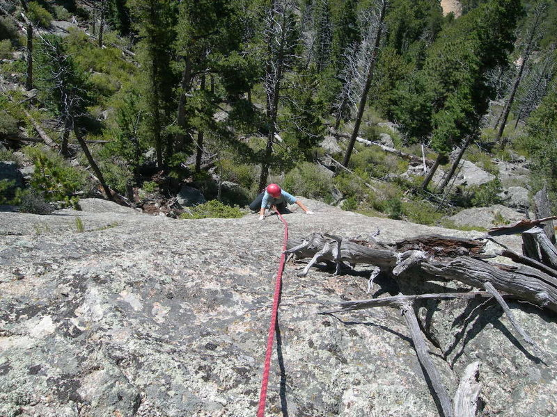Rock Climbing Photo: Deb plays on the unprotected slab finish to the cl...