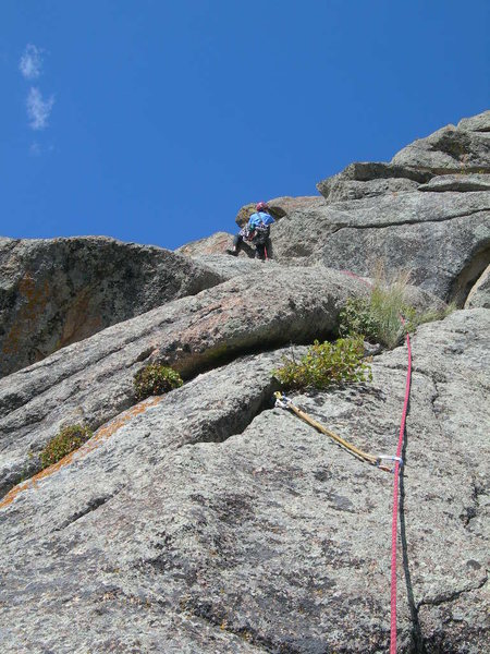 Deb pulls the 1st crux of P3.