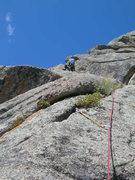 Rock Climbing Photo: Deb pulls the 1st crux of P3.