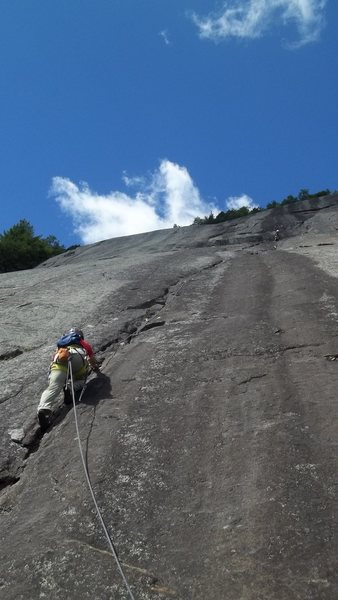 Start of first pitch, nice shaded area to belay from, good protection on pitch, almost 200 ft to belay point.