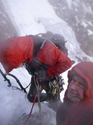 At the first belay of Minus-Two gully (V), Ben Nevis, 2013