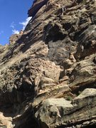 Rock Climbing Photo: Rope on the route.  Note: go to the higher anchor?...